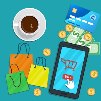 Online shopping with mobile app. flat smartphone with cart icon, buy button on screen