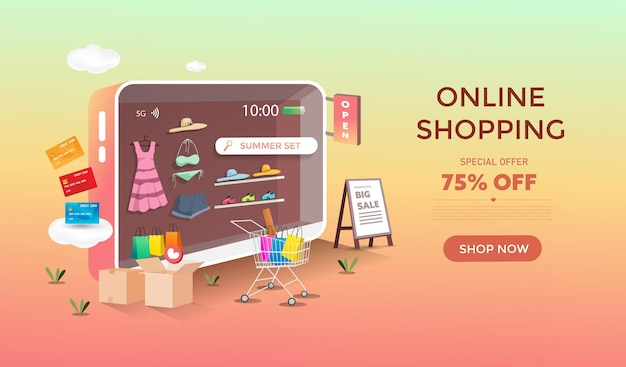 Online shopping with mobile store design. discount and promotion banner.