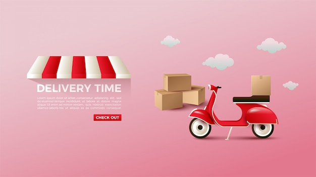 Online shopping with a motorbike banner