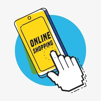 スマートフォンのポップアートスタイルによるオンラインショッピング