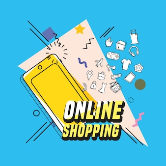 Online shopping with smartphone pop art style