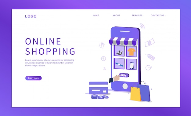 Online shopping with smartphone. template design for website.