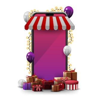 スマートフォンでのオンラインショッピング。花輪で包まれ、孤立した周りにプレゼントするボリュームスマートフォン