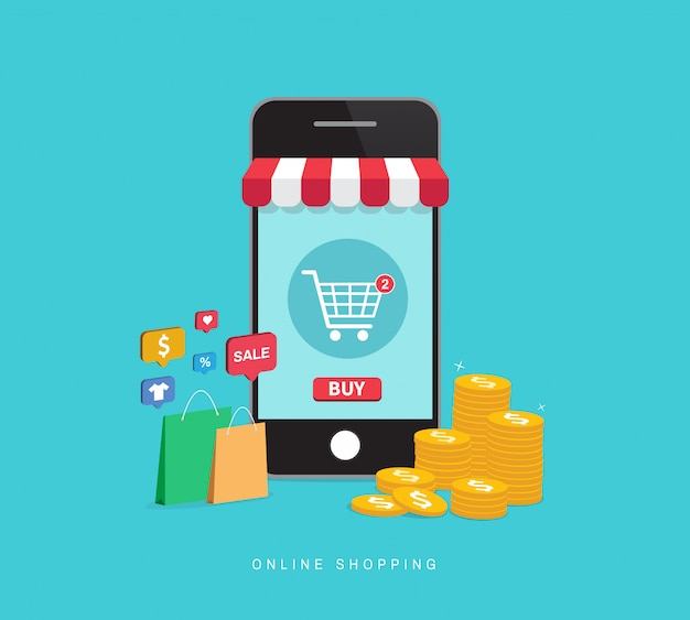 Online shopping with smartphone.