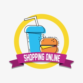 Online shopping with soda and fast food pop art style
