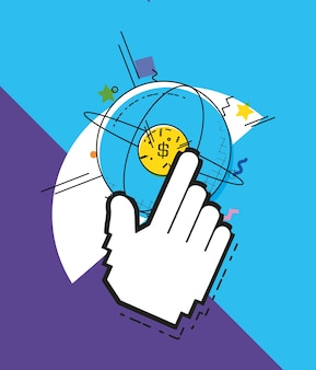 球形の惑星ポップアートスタイルによるオンラインショッピング