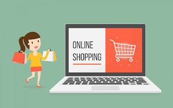 Online shopping with woman character