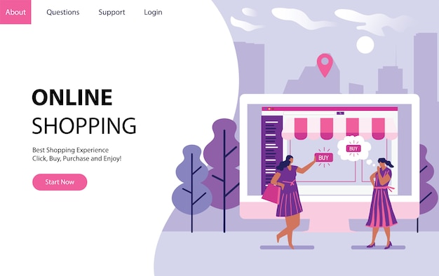 Online shopping with women buying some stuff in internet form a computer. landing modern page template