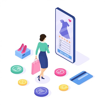 Online shopping . woman buy dress on the site. can use  web banner and infographics. isometric .  illustration.