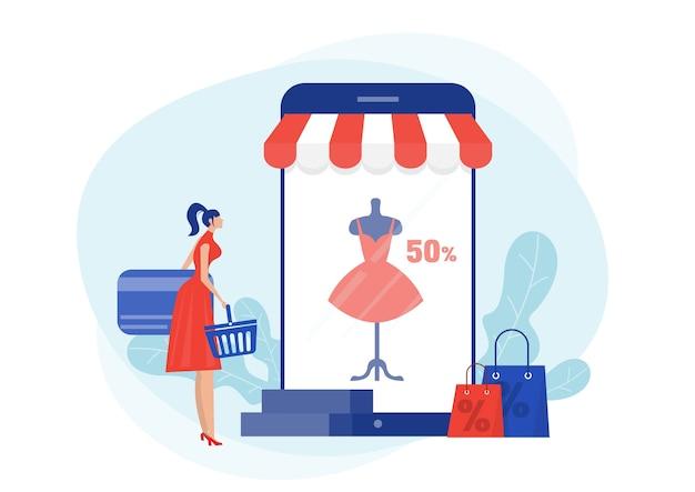 Покупки в интернет магазине. женщина ищет скидку на ткань на смартфоне в магазине черной пятницы