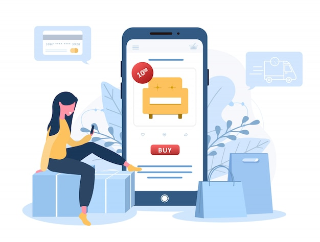 Online shopping. a woman shop at an online store sitting on a floor. the product catalog on the web browser page. shopping boxes. stay at home background. quarantine or self-isolation. flat style.