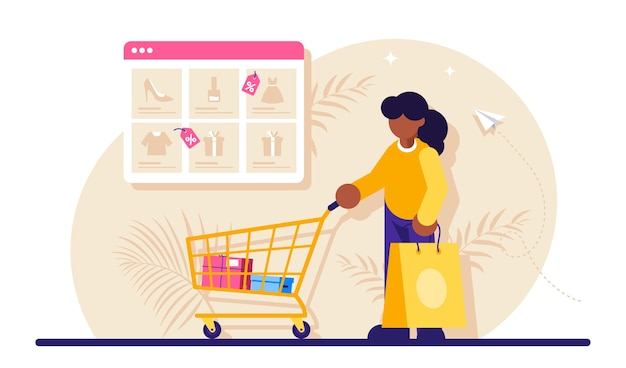 Online shopping woman and shopping cart