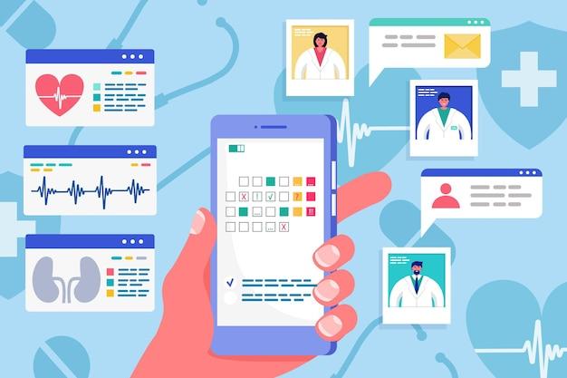 책 의사, 벡터 일러스트 레이 션을 위한 온라인 스마트폰 의료 앱. 병원 커뮤니케이션을 위한 의학 기술 응용 프로그램입니다. 인포그래픽, 모바일 의사 이미지가 있는 웹 클리닉 상담.