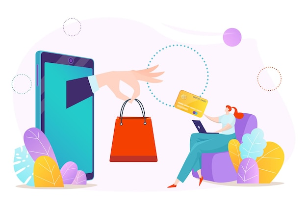 Online smartphone payment, buy in phone mobile store technology illustration