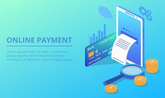 Online smartphone payment illustration