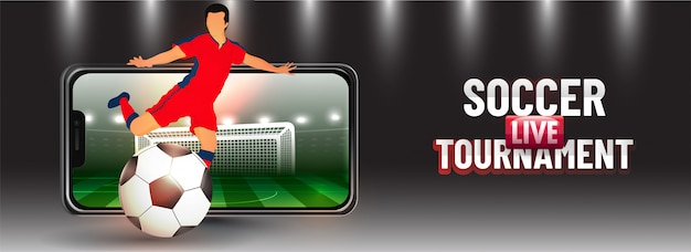 Online soccer live tournament app in smartphone with football pl