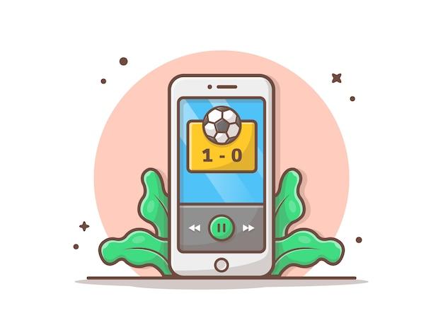 Online soccer match  icon illustration Premium Vector