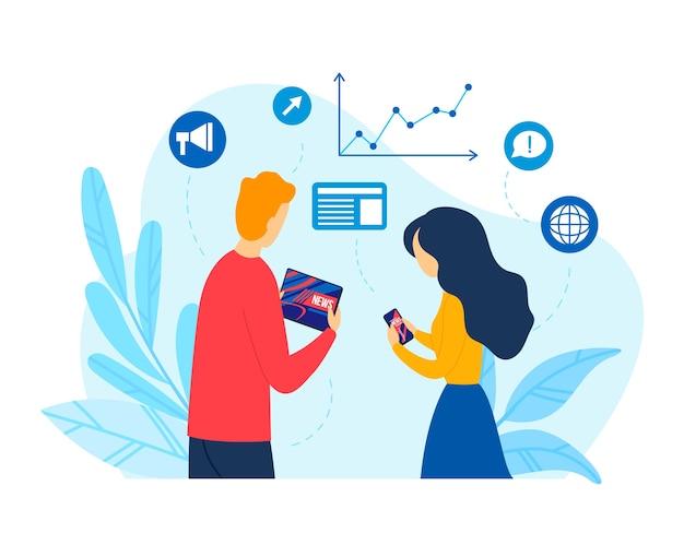 플랫 뉴스 기술, 일러스트와 함께 온라인 소셜 미디어. 사람들은 모바일 장치에서 인터넷 통신 개념, 네트워크를 사용합니다. 웹 마케팅 기호, 아이콘 및 전화 디지털 앱.