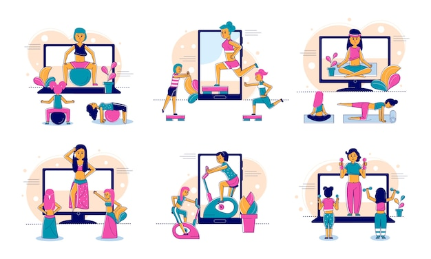 Online sport and fitness, lifestyle, online trainer web technology and people concept line illustration.