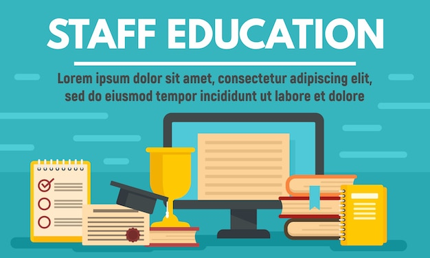 Online staff education concept banner, flat style