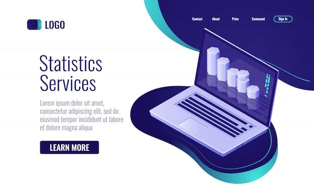 オンライン統計およびデータ処理、ノートパソコンの画面に情報棒グラフ