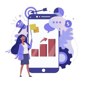 オンライン統計とモバイル分析フラットイラスト。ビジネスデータ分析のカラーデザイン。スマートフォンとグラフレポート画面のカラフルなメタファー、白い背景で隔離の女性。
