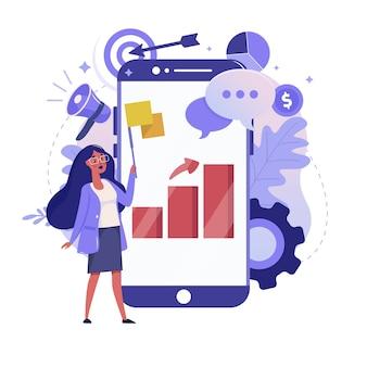 オンライン統計とモバイル分析フラットイラスト。ビジネスデータ分析のカラーデザイン。スマートフォンと画面上のカラフルなメタファー、白い背景で隔離のグラフレポートを持つ女性。