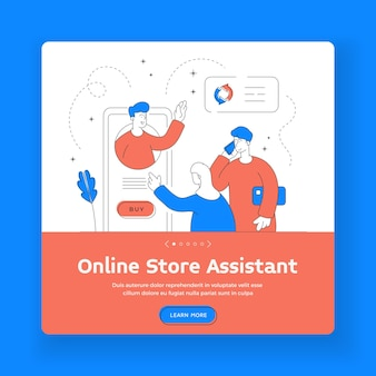Online store assistant square banner template. man and woman browsing online store application on modern smartphone and making call to assistant while shopping online. flat style illustration
