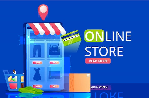 The online store banner. a shopping in app in mobile phone. a fast delivery and buy icons.  flat illustration