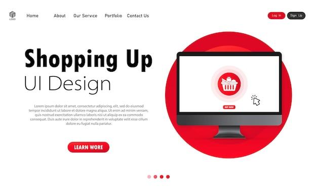 Концепция интернет-магазина на баннере экрана компьютера. дизайн пользовательского интерфейса. интернет-магазины дома. вектор на изолированном белом фоне. eps 10.