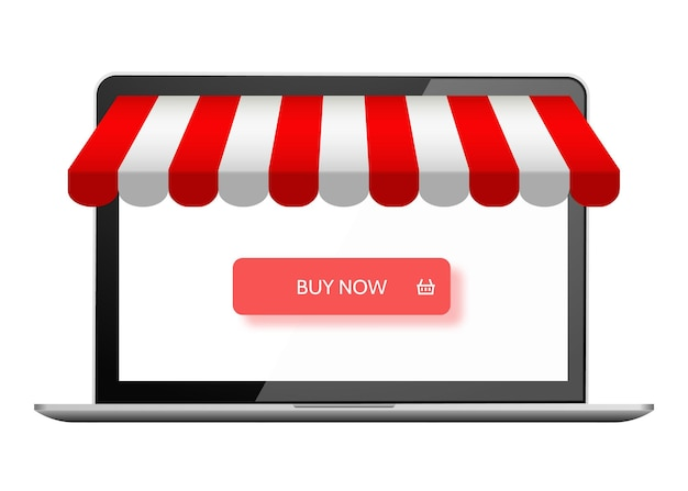 Online store digital marketing vector shop ecommerce shopping concept buy now button on laptop
