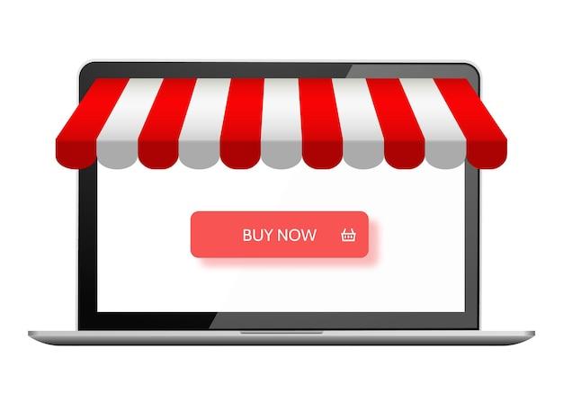Интернет-магазин цифровой маркетинг вектор магазин концепции покупок электронной коммерции купить кнопку на ноутбуке