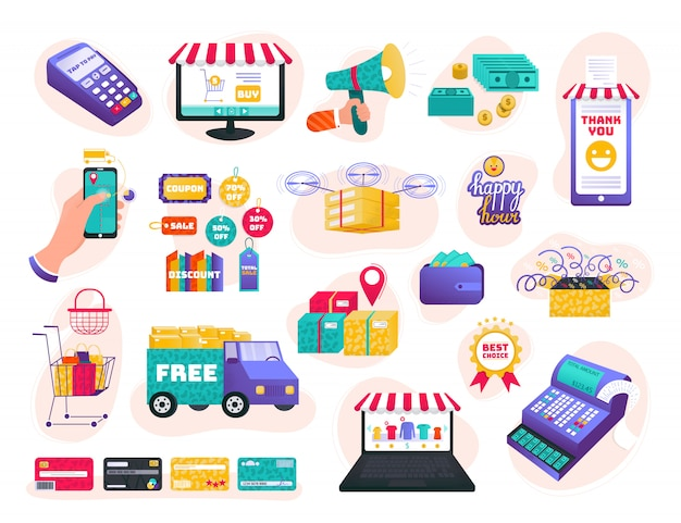 オンラインストア、eコマースイラストセット、漫画人間の手が商品を購入、白のwebインターフェイスストアのアイコン