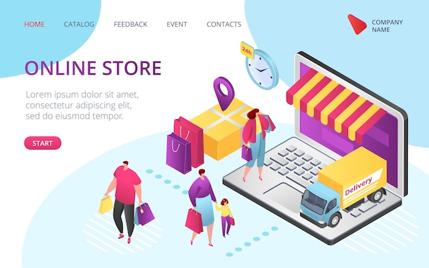 Online store e-commerce landing page, . sale, customer order, online shop isometric package sell, paying on screen, purchase now discount. smartphone app online store.