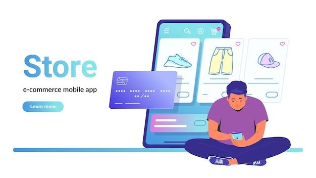 オンラインストアのeコマースモバイルアプリ。スマートフォンとオンラインショッピングで蓮華座に一人で座っているかわいい男のフラットラインベクトルイラスト。白い背景の上のクレジットカードとショップアイテムのラインアイコン