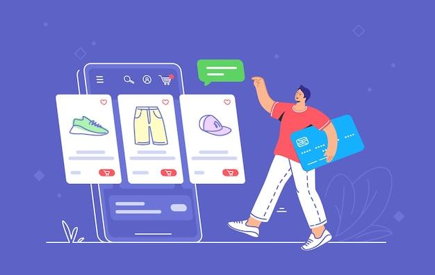 网店电子商务手机应用使用情况受消费者影响。平面线向量插图的年轻人持有蓝色信用卡去网上电子商店网页与商品放置在智能手机屏幕