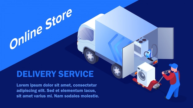 Online store goods transportation banner template
