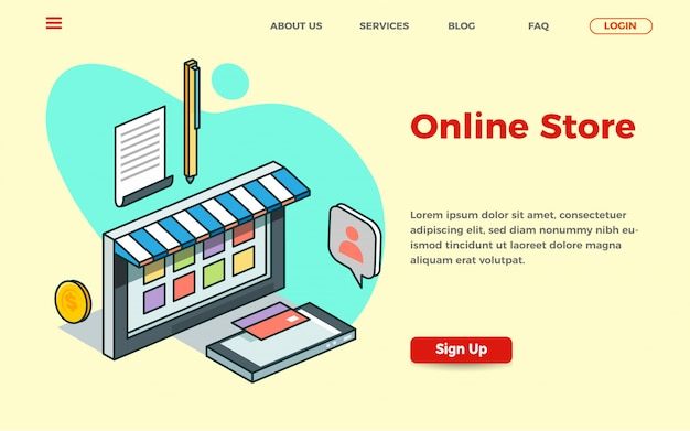 Online store landing page template with isometric illustration