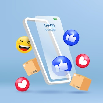 Online store on mobile phone with 3d emoji social icon.  minimal illustration.