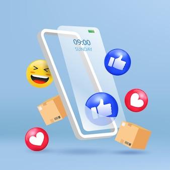 3d絵文字ソーシャルアイコン付きの携帯電話のオンラインストア。最小限のイラスト。