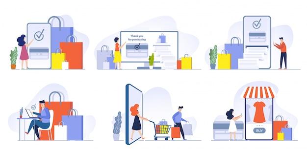 온라인 상점 결제. 스마트 폰 그림 세트에서 모바일 쇼핑, 지불 구매 주문 및 신용 카드 결제. 디지털 기술, 모바일 마케팅. 인터넷 앱을 통한 상품 구매
