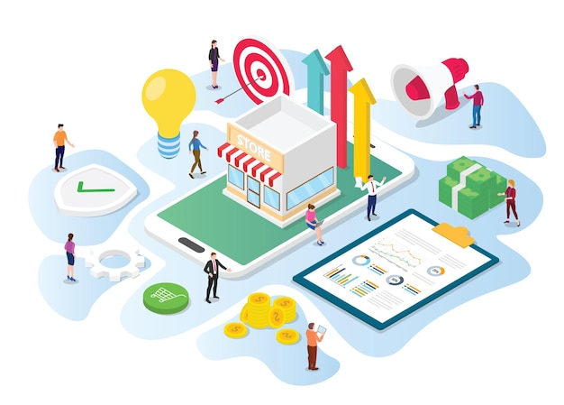 Online store promotion concept team work people working on data and marketing tools to promote with modern isometric 3d style illustration