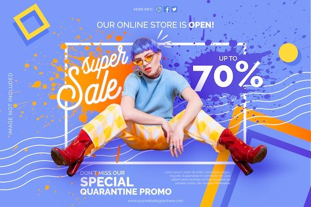 Modello di banner promozionale di quarantena del negozio online