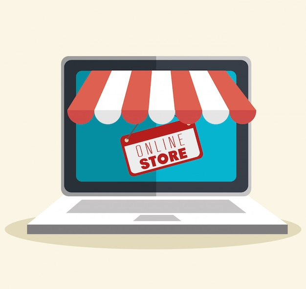 Online store shopping illustration
