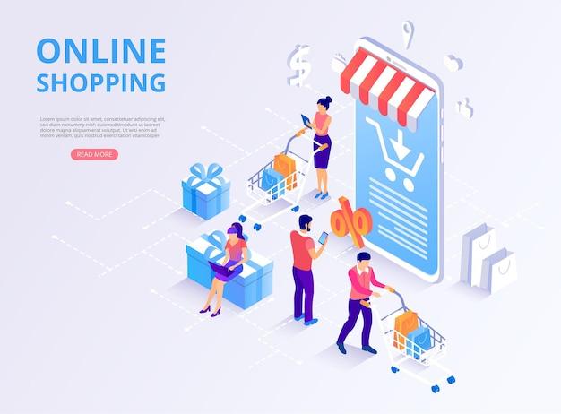 스마트 폰 상품 및 고객이있는 온라인 상점 쇼핑 온라인 결제 홈페이지 템플릿