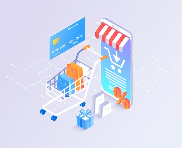 Online store shopping online payment with credit card online banking template with 3d smartphone goods and shopping cart