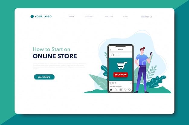 Online store start up landing page website template