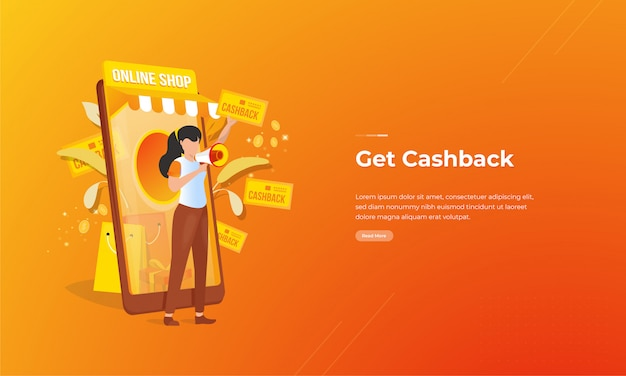 Online stores offer cashback promotions for online shopping concepts