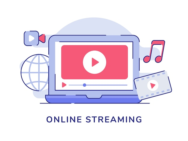 Концепция потоковой передачи в интернете с воспроизведением музыки из фильмов на экране ноутбука