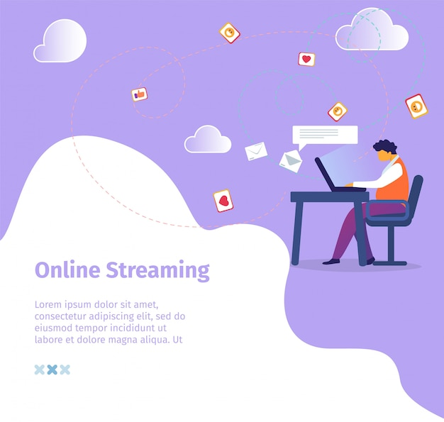 Online streaming square banner. young male character blogger lead video blog